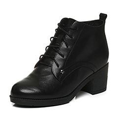 Tata/他她2017冬黑色牛皮摩登绑带及踝靴粗高跟女短靴FAK40DD7