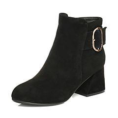 Tata/他她2017冬黑色羊皮绒面皮带扣粗高跟通勤女短靴FT740DD7