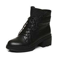 Tata/他她2017冬黑色牛皮绑带时尚马丁靴女休闲靴FT640DD7
