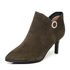 Tata/他她2017冬绿色羊皮水钻优雅细高跟及踝靴女短靴FF247DD7