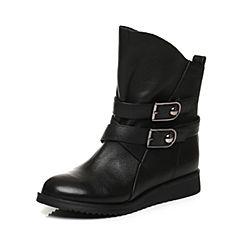 Tata/他她2017冬专柜同款黑色牛皮潮款皮带扣休闲女短靴2N954DD7