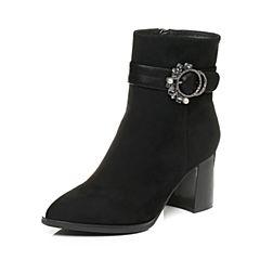 Tata/他她2017冬黑色羊皮绒面水钻皮带扣通勤粗高跟女皮靴7322DDD7