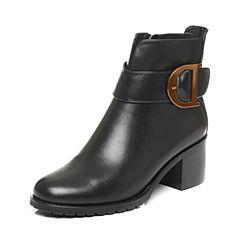Tata/他她2017冬黑色牛皮时尚通勤皮带扣粗高跟女短靴XJ933DD7