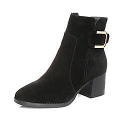 Tata/他她2017冬黑色羊皮绒面时尚金属扣通勤女短靴ZS610DD7