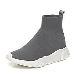 Tata/他她2017秋灰色时尚袜子鞋套脚坡跟休闲女短靴55011CD7