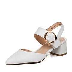 Tata/他她2018春专柜同款白色牛皮尖头一字带女皮凉鞋2NCB7AH8