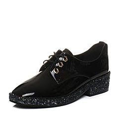 Tata/他她2018春专柜同款黑色漆牛皮绑带亮片休闲鞋女皮鞋S1020AM8