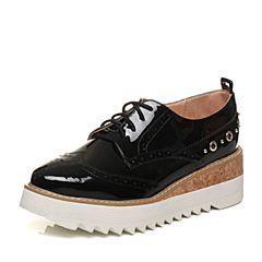 Tata/他她2018春专柜同款黑色漆牛皮绑带坡跟女休闲鞋FG525AM8