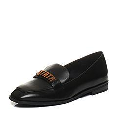 Tata/他她春专柜同款黑色牛皮饰扣方头乐福鞋女休闲鞋2C506AQ8