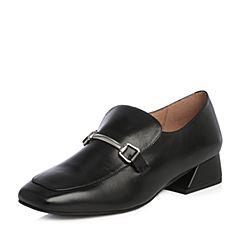 Tata/他她2018春专柜同款黑色牛皮通勤方头粗跟乐福鞋女皮鞋FI023AM8