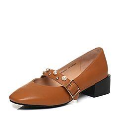 Tata/他她2018春专柜同款棕色羊皮一字带方头粗跟女玛丽珍鞋FM307AQ8