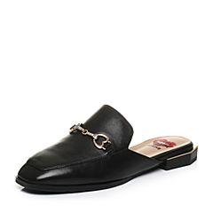 Tata/他她2018春专柜同款黑色羊皮饰扣通勤穆勒鞋女皮凉鞋2C501AH8