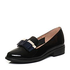 Tata/他她2018春专柜同款黑色漆牛皮蝴蝶结乐福鞋女皮鞋FAM08AQ8
