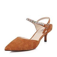 Tata/他她2018春专柜同款棕色羊皮尖头水钻一字带女皮凉鞋S1027AK8
