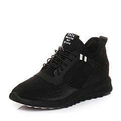 Tata/他她2018春专柜同款黑色时尚拼接运动风女休闲鞋S1037AM8
