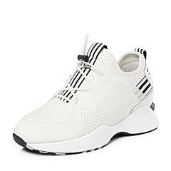 Tata/他她2018春专柜同款白色布面条纹运动厚底女休闲鞋S1008AM8