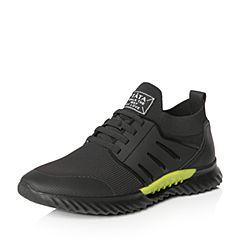 Tata/他她2018春专柜同款黑色拼接运动风厚底男休闲鞋S1520AM8