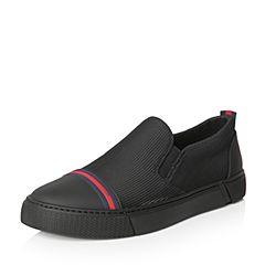 Tata/他她2018春专柜同款黑色牛皮拼接布平底男休闲鞋S1518AM8