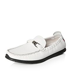Tata/他她2018春专柜同款白色牛皮平底乐福鞋男休闲鞋S1513AM8