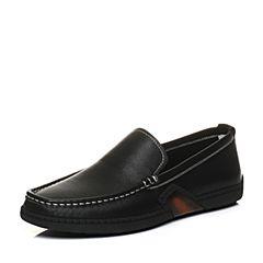 Tata/他她2018春专柜同款黑色牛皮套脚平底男休闲鞋S1512AM8