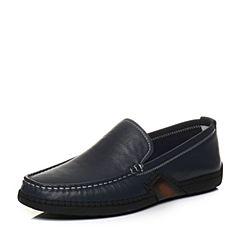 Tata/他她2018春专柜同款蓝色牛皮套脚平底男休闲鞋S1512AM8