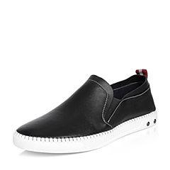 Tata/他她2018春专柜同款黑色牛皮织带平底男休闲鞋S1504AM8