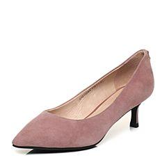 Tata/他她2018春专柜同款粉色羊皮通勤水钻尖头细高跟女皮鞋S1010AQ8
