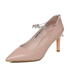 Tata/他她2018春专柜同款粉色羊皮水钻一字带细高跟女皮鞋S1025AQ8