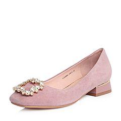 Tata/他她2018春专柜同款粉色羊皮水钻饰扣方头女皮鞋S1240AQ8