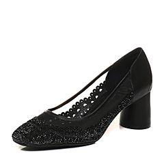 Tata/他她2018春专柜同款黑色拼接水钻网纱方头高跟女鞋S1237AQ8