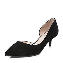Tata/他她2018春专柜同款黑色羊皮通勤尖头酒杯跟女凉鞋S1215AK8