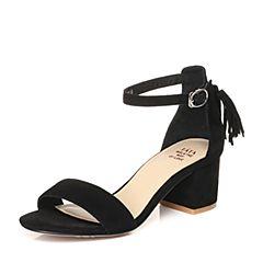 Tata/他她2018夏黑色羊皮通勤流苏一字带粗跟女皮凉鞋S2A04BL8