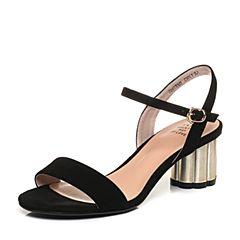Tata/他她2018夏黑色羊皮绒面通勤一字带高跟女皮凉鞋S2A03BL8