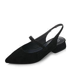 Tata/他她2018春黑色羊皮绒面尖头一字带粗跟玛丽珍鞋女凉鞋S1A11AH8