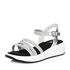 Tata/他她夏專柜同款銀色牛皮拼接PU坡跟羅馬鞋女涼鞋S2015BL8