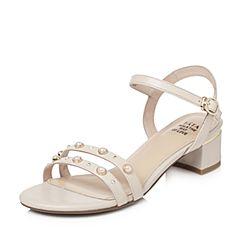 Tata/他她2018夏专柜同款米色羊皮珍珠水钻一字带粗跟女皮凉鞋2USB9BL8