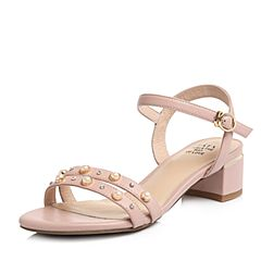 Tata/他她2018夏专柜同款粉色羊皮珍珠水钻一字带粗跟女皮凉鞋2USB9BL8