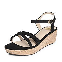 Tata/他她2018夏专柜同款黑色羊皮通勤一字带坡跟女凉鞋2X3A9BL8