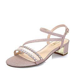 Tata/他她夏專柜同款粉色亮片布鉚釘網紗粗跟女涼鞋2USB7BL8