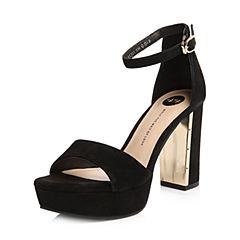 Tata/他她2018夏专柜同款黑色羊皮绒面一字带粗高跟女凉鞋FCJ01BL8