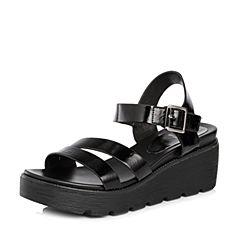 Tata/他她2018夏专柜同款黑色漆牛皮一字带坡跟女凉鞋FKK01BL8