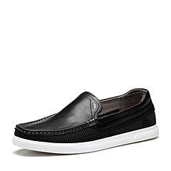 Tata/他她2018夏专柜同款黑色时尚拼接编织平底男休闲鞋S2511BM8