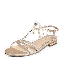 Tata/他她2018夏专柜同款金色亮片布星星水钻方跟女凉鞋2QVA4BL8