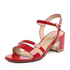 Tata/他她2018夏专柜同款红色漆牛皮通勤一字带粗高跟女凉鞋2IC19BL8