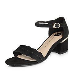 Tata/他她2018夏专柜同款黑色羊皮绒面波浪边一字带粗高跟女凉鞋2IC06BL8