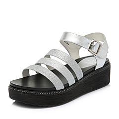 Tata/他她2018夏专柜同款银色拼接休闲坡跟罗马鞋女凉鞋FAF16BL8