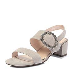 Tata/他她2018夏专柜同款灰色羊皮革绒面通勤金属扣粗高跟女凉鞋S2203BL8
