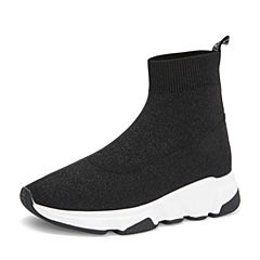 Tata/他她2018秋专柜同款黑色布面运动坡跟袜靴女休闲靴2BL40CD8