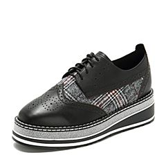 Tata/他她2018秋专柜同款黑/黑红拼接格纹雕花撞色坡跟女休闲鞋2BH20CM8