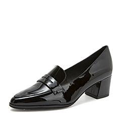 Tata/他她2018秋专柜同款黑色漆牛皮革通勤尖头粗高跟浅口女鞋2BC01CQ8